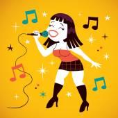 Sexy girl singing — Stock Vector