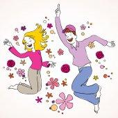Joyful couple jumping — Stock Vector