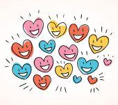 Happy cartoon hearts — Stock Vector