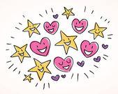 Hearts and stars — Stock Vector