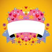 Floral heart ribbon — Stock Vector