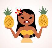 Pretty pineapple hula girl — Stock Vector