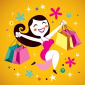 Shopping girl — Cтоковый вектор