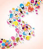 Fun background with hearts — Stock Vector