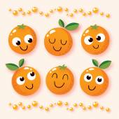 Happy cartoon oranges — Stock Vector