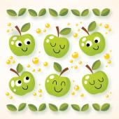 Happy cartoon apples — Stock Vector