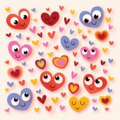 Happy cartoon hearts — Stock Vector