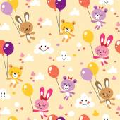 Bunnies and bears cute seamless pattern — Stock Vector