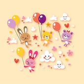Cute bunnies and bears — Stock vektor