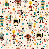Cute robots seamless pattern — Stock Vector