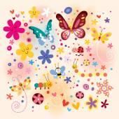 Butterflies, beetles, flowers pattern — Stock vektor
