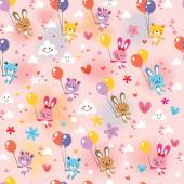 Bunnies and bears pattern — Stock Vector
