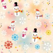 Cute Christmas snowman pattern — Stock Vector