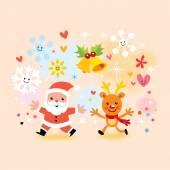 Santa and reindeer — Stock Vector