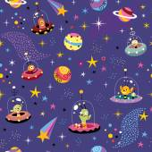 Space pattern with cute aliens — Stock Vector