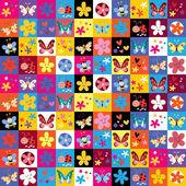 Cute butterflies beetles flowers pattern — Stock vektor