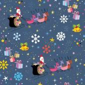 Santa flying Christmas pattern — Stock Vector