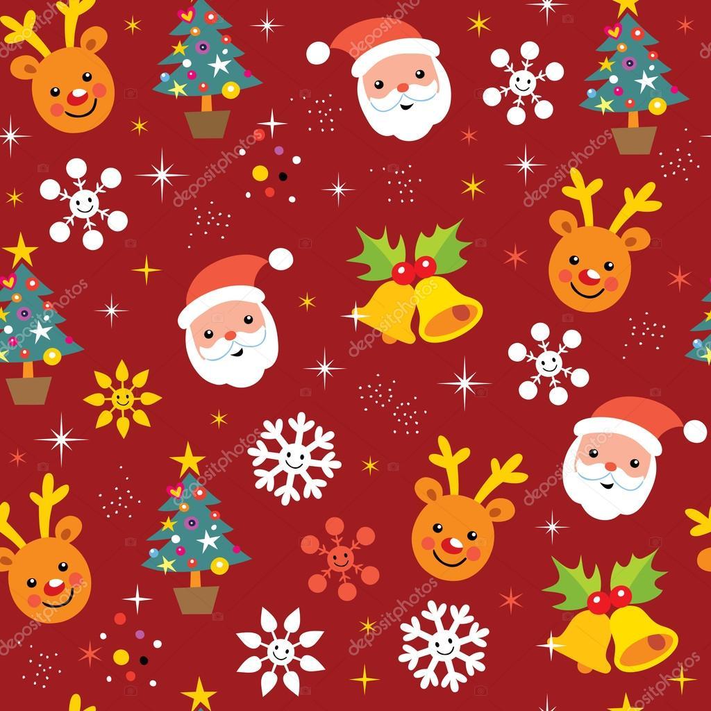 圣诞驯鹿和圣诞老人图案