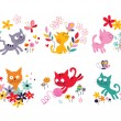 Cute kittens set — Stock Vector #58642915