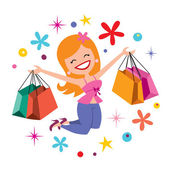 Girl shopping — Cтоковый вектор