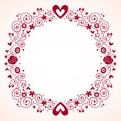 Hearts and flowers frame vintage style — Stockvektor