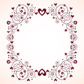 Hearts and flowers frame vintage style — Stock vektor