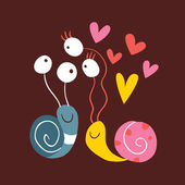 Snails In Love — Stock Vector