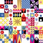 Hearts, stars and flowers pattern — Stock vektor