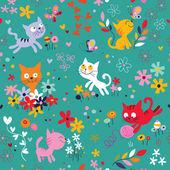 Kittens among flowers pattern — Stock Vector