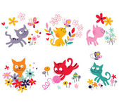 Cute kittens set — Stock Vector