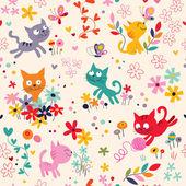 Cute kittens pattern — Stock Vector