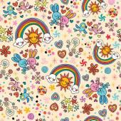 Bunnies, birds, rainbows seamless pattern — Stock vektor