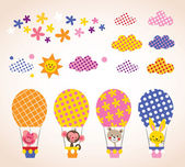 Cute animals in hot air balloons — Stockvector