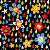 Flowers in rain pattern — Stock Vector