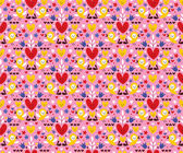 Hearts & birds seamless pattern — Wektor stockowy