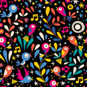 Floral pattern with cartoon birds — Stock Vector