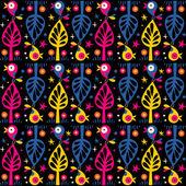 Cute birds in trees pattern — Stock Vector