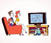 Family watching television — Stock Vector
