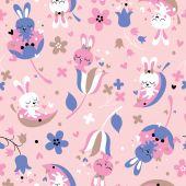 Cute love bunnies pattern — Stock Vector