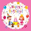 Happy Birthday cute kids card — Stok Vektör #58662995