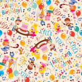Happy Birthday kids party pattern — Vetorial Stock