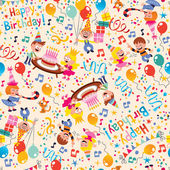 Happy Birthday kids party pattern — Stok Vektör