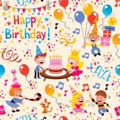 Happy Birthday kids party pattern — Stock Vector