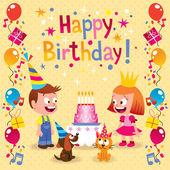 Happy Birthday kids card — Stock Vector