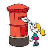 Girl posting letter — Stock Vector