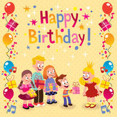 Kids giving gifts birthday card — Stock Vector