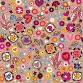 Kalpler ve çiçekler eğlenceli çizgi film desen — Stok Vektör