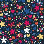 Cute butterflies, hearts and flowers pattern — ストックベクタ