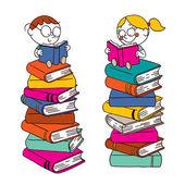 Kids reading books — Stock Vector