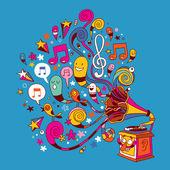 Fun gramophone — Stock Vector